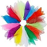 Rovtop 15Pcs Dance Scarves, Muti-color Square Juggling Silk Dance Scarves Magic Tricks Performance Props Accessories Movement Scarves Rhythm Band Scarf 60 x 60 cm