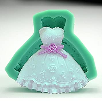 DUlijun Vestido de la te molde de silicona ligera falda de herramientas de chocolate molde de arcilla pastel de pasta de azúcar para hornear princesa: ...