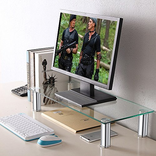 TAVR Clear Computer Monitor Stand Desktop Riser with Tempered Glass Height Adjustable 23.6 x 10.2