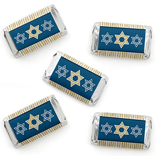 Big Dot of Happiness Happy Hanukkah - Mini Candy Bar Wrapper Stickers - Chanukah Small Favors - 40 Count ()