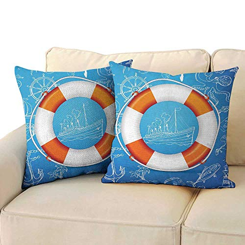 Serra Design Island - Ediyuneth Cushion Cover Square Home Life Buoy,Life Buoy Image Background with Palm Tree Island Octopus Seahorse Lighthouse,Blue Orange White 18