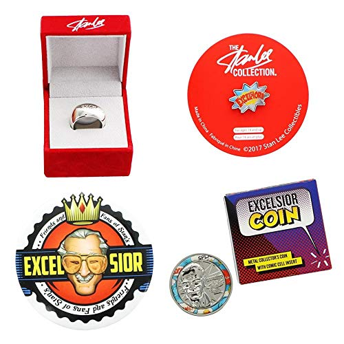 Stan Lee Excelsior 4 Piece Set with Coin, Button Pin, Enamel Pin, Ring