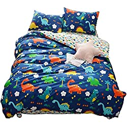 HIGHBUY 100% Cotton Dinosaur Print Kids Duvet Cover Set Full Multi Color Reversible Cartoon Children Boys Bedding Cover Sets 3 Piece Zipper Closure Queen Bed Hypoallergenic,styleB