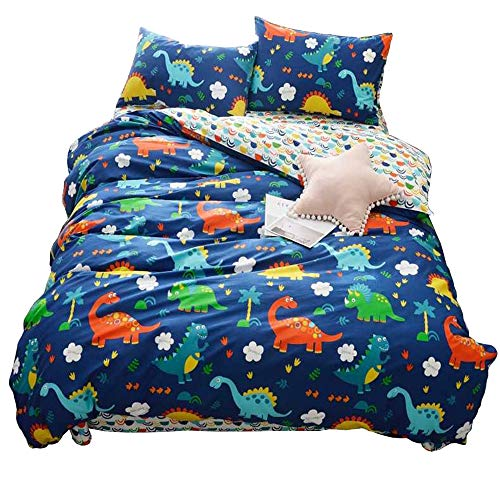HIGHBUY 100% Cotton Dinosaur Print Kids Duvet Cover Set Full Multi Color Reversible Cartoon Children Boys Bedding Cover Sets 3 Piece Zipper Closure Queen Bed Hypoallergenic,styleB