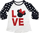 BluNight Collection Little Girl Kids Polka Dot Ruffle Shiny Love Cotton Shirt Top Tee T-Shirt White 6 XL (300568)