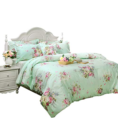 FADFAY Green Floral Duvet Cover Sets Vintage Flower Printed Bedding Hypoallergenic 100% Cotton Designer Bedding Set 3 Pieces, 1duvet Cover & 2pillowcases (Queen Size, Simple Style)