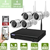 Wireless 8-Channel 1080P Security Camera System with 4pcs 720P Full HD Cameras,Home CCTV...