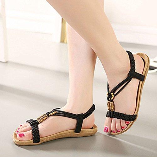 Bohemia Planas Sandalias para mujer Talla Grande Zapatillas Chancletas De Playa Rebordeado Romanas Zapatos Negro