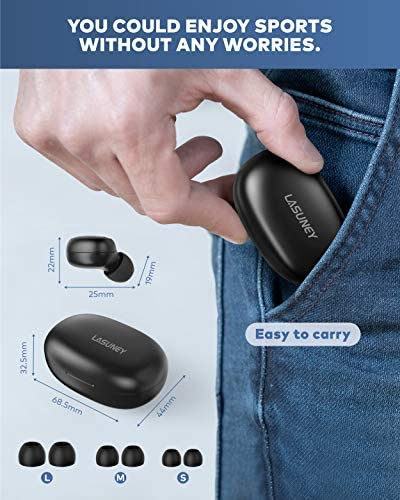 LASUNEY Bluetooth 5.0 True Wireless Earbuds with Charging Case for iPhone Android, Touch Control Waterproof Single-Twins Mode Stereo Headphones with mic, in-Ear Earphones Headset for Sport