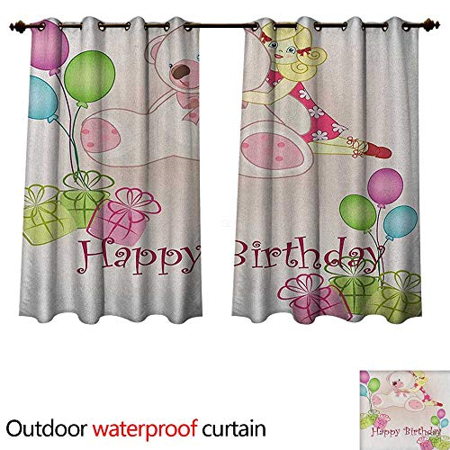 (Anshesix Kids Birthday Outdoor Balcony Privacy Curtain Baby Girl Birthday with Teddy Bears Toys Balloons Surprise Boxes Dolls Image W72 x L72(183cm x 183cm))