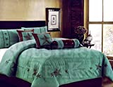 Western Peak Oversize Embroidery Texas Western Lone Star Micro Suede Comforter Bedding 7 Piece Set Shams Bed Skirt (Oversize King, Brown Turquoise)