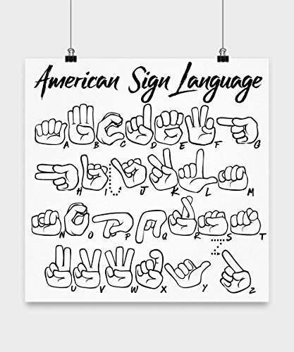 ASL (American Sign Language) Fingerspelling Alphabet Poster - For Use in Classroom, Dormroom, or for Decorative ASL ABC Wall Art! ()