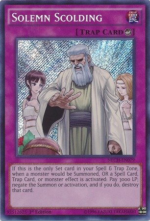Yu-Gi-Oh! - Solemn Scolding (NECH-EN079) - The New Challengers - 1st Edition - Secret Rare