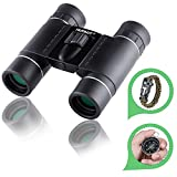 HUTACT Binoculars for Bird Watching, 10x25 Mini Compact Foldable, for Both for Kids and for adults birdwatching, Hunting, Concert, Sport Games, etc., with Compass and Survival Bracelet