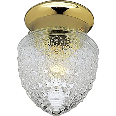 Progress Lighting P3750-10 Traditional One Light Close-to-Ceiling from Glass Globes Collection Cast Finish, 5-1/2-Inch Diameter x 7-Inch Height, Polished Brass