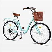 26 Inch Women's Cruiser Bike, 7 Speed Classic Bicycle Retro Bicycle Beach Cruiser Bicycle Retro Bicycle (W