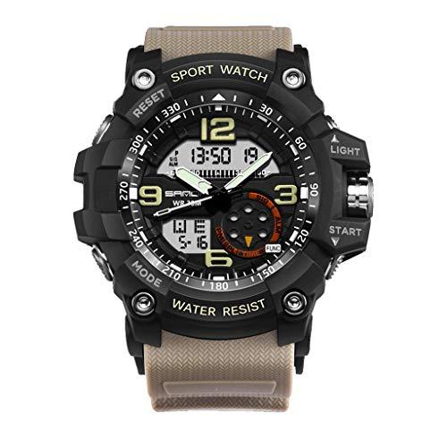 Men's Watch Waterproof Large Dial Dual Display Analog Digital LED Electronic Wristwatch (Gray)