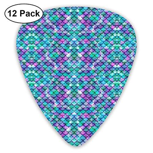Unique Designs Guitar Picks - Galactic Mermaid Tail Guitar Picks -Premium Music Gifts & Guitar Accessories For Boyfriend Musician-12 Pack