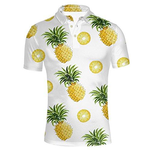 HUGS IDEA Mens Button Down Pique Polos Shirt Summer Hawaiian Tropical T Shirt Shorts Short ()