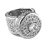 Niv's Bling 18k White Gold Cluster CZ Iced Out Pinky Ring for Men - Hip Hop Fashion Band by, Size 6