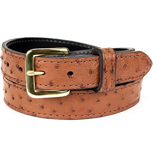 Genuine Ostrich Skin Leather Belt (Size 38, Brown)