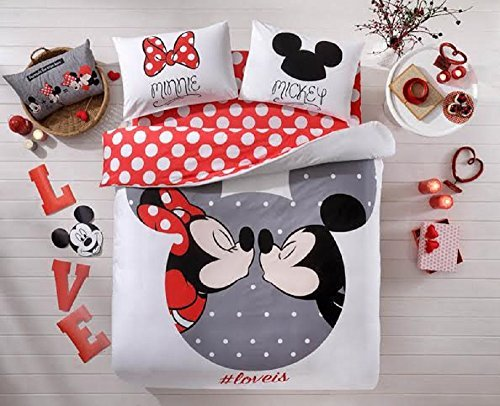 Valentine's Day Gifts 100% Cotton Disney Licensed 4 PCS Mickey & Minnie Loves Kisses Full Queen Size Quilt Duvet Cover Sets Bedding Linens (Bedding Sets Mickey Mouse Queen)