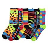 Womens Fun and Colorful Crew Sock 6 Packs-Neon, One Size