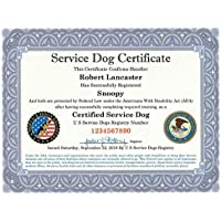 Official Service Dog Certificate with Leather Presentation Folder – Fully Customized including Registration to U S Service Dogs Registry
