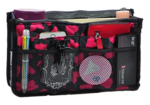 Purse Organizer,Insert Handbag Organizer Bag in Bag (13 Pockets 15 Colors 3 Size) (S, Rose -
