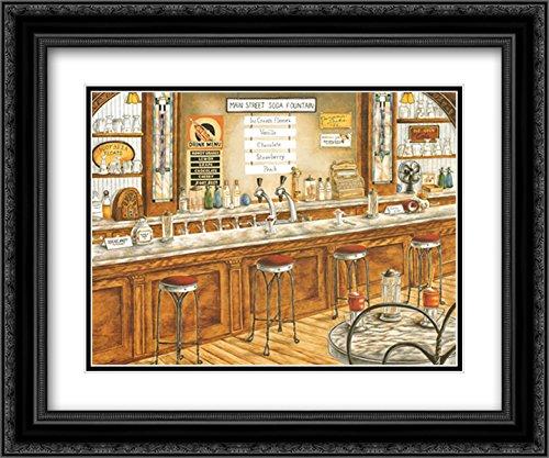 Soda Fountain 2X Matted 20x24 Black Ornate Framed Art Print by Kay Lamb Shannon (Kay Lamb)