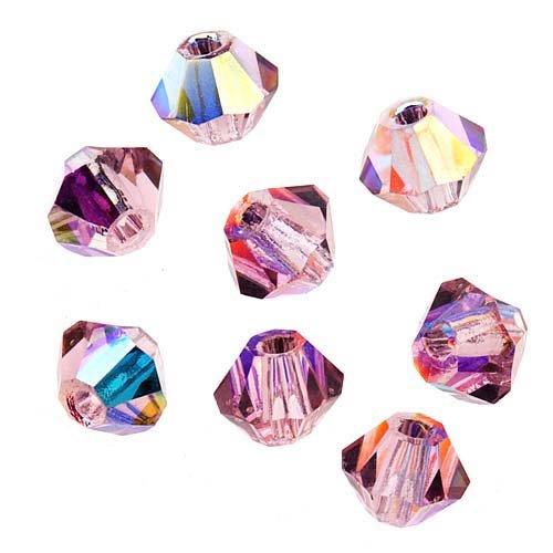 Preciosa Czech Crystal Bicones Glass Beads 3mm Light Amethyst AB (25) ()