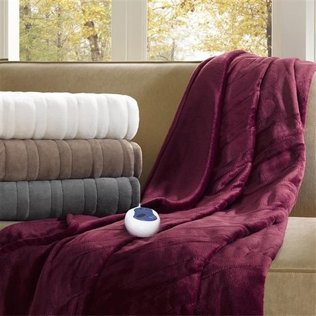 Beautyrest Oversized Plush Heated Throw, 60 x 70, Ivory by B