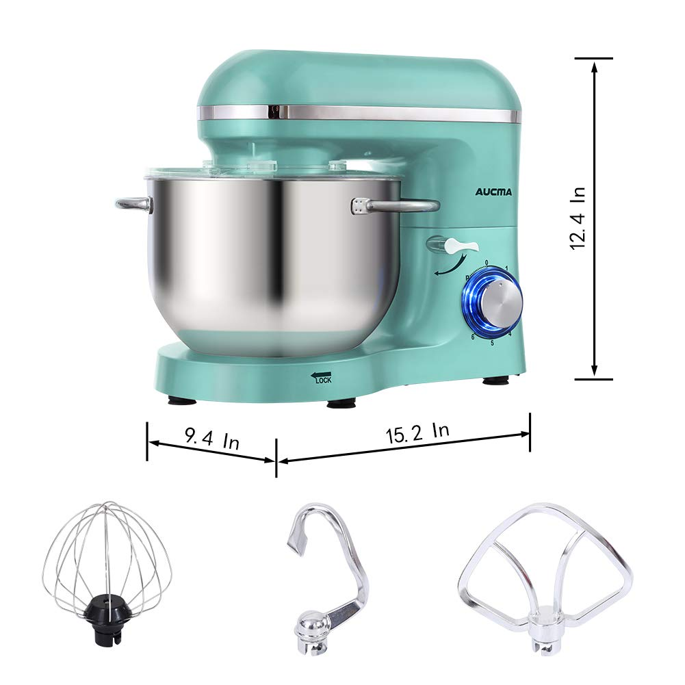 Aucma Stand Mixer,6.5-QT 660W 6-Speed Tilt-Head Food Mixer, Kitchen Electric Mixer with Dough Hook, Wire Whip & Beater (6.5QT, Blue) by AUCMA (Image #2)