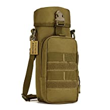Protector Plus Military Water Bottle Pouch Holder Tactical Kettle Gear Molle Pack Bag (Brown)
