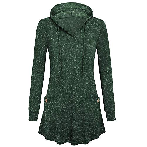 Sunmoot 2019 Newest Hoodie Blouse for Women Casual Long Sleeve V-Neck Solid Casual Pullover Tops with Pocket