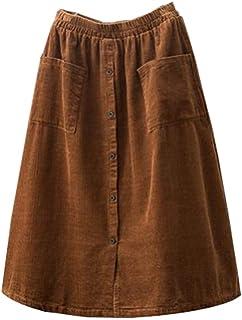 43c991269d4 Minibee Women s Corduroy Midi Skirt Front Split Buttons Decoration A-Line  Dress