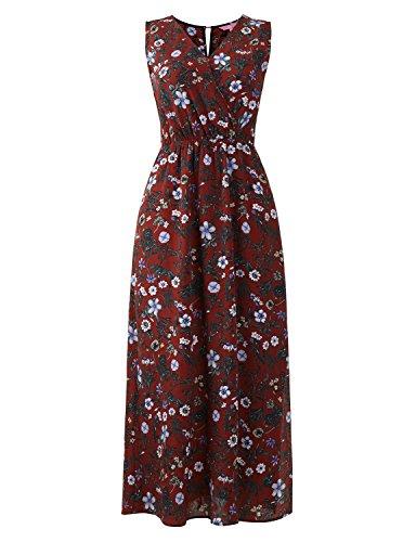 Regna X Beach Boho Summer Floral Casual Loose Maxi Dresses for Women Brown L