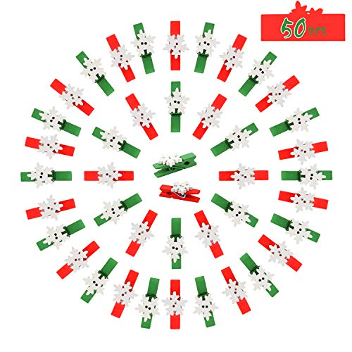 Konsait Snowflake Wood Clips,50pcs Christmas Photo DIY Wood Clips Snowflake Clothespins Craft Decoration Clips for Christmas Party Decoration Supplies
