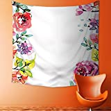 Printsonne Art Decorative Decor Collection Floral Frame with Summer Flowers Roses Natural Picture Pink Navy Blue Wall Hanging Bedspread Multi Purpose Tapestries