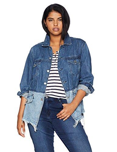 Lucky Brand Women's Plus Size Pieced Waisted Trucker Jacket, BOLGART, 1X ()