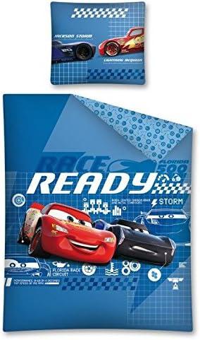 DP Disney Cars Parure de lit r/éversible 100/% Coton Bleu 140 x 200 cm Taie doreiller 70 x 80 cm