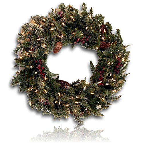 """Custom & Unique (30"""" Inches) 1 Single Large Size Decorative Holiday Wreath for Door, Made of Resin w/ Artificial Winter Lighted Time Festive Christmas Pine Cones & Branches Style (White, Green, & Blac"""