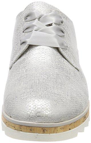 Mujer Gris Para Cordones Zapatos 23716 Metal Marco Tozzi lt De Oxford grey 0aS1Oqn