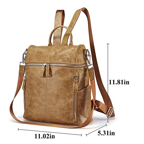 Lecxci Women Large Multi-pocket Lightweight Genuine Leather Backpack Shoulder Bag Ladies Fashion Schoolbag Travel Bag Casual Daypack(Wax Leather,Brown) by Lecxci (Image #4)