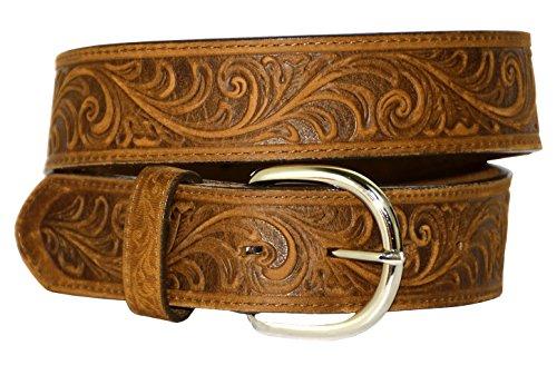 (Men's Western Scroll Leather Belt, BROWN, Size 42)