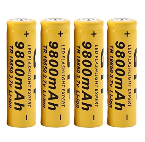 4Pcs 3.7V 18650 9800mah Li-ion Rechargeable Battery For LED Flashlight Torch by GLOOUS
