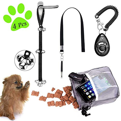 D-buy 4-in-1 Dog Training Set, Puppy Training Kit-Dog Treat Training Pouch, Bark Control Whistle, Dog Training Doorbells, Pet Clicker, Ideal Gift for First Time Pet Owners Training Dog Owners and More