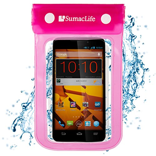 Pink SumacLife Waterproof Dry Pouch Bag Case for Sony Xperia T2 Ultra / Sony Xperia T3 / Sony Xperia C3 Smart Phones + 3.5mm Auxiliary Cable + Windshield Mount