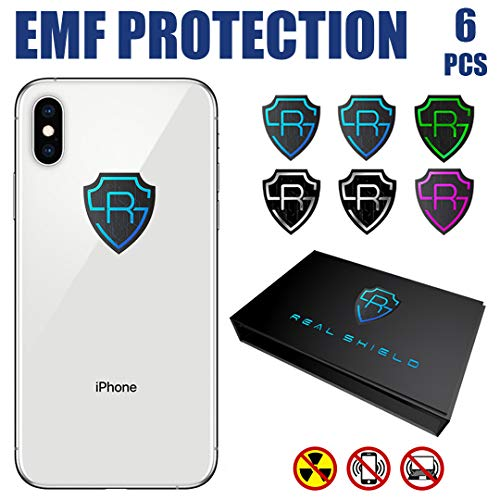 EMF Protection Cell Phone Stickers by RealShield - Anti Radiation Protector Shield for Mobile, Laptop, Tablet, Wifi Device, iPhone, iPad - EMR Blocker Negative Ion Neutralizer reduce Anxiety [6pcs] ()