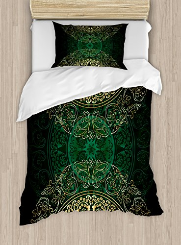 Bedding Set Retro Circles - Lunarable Hunter Green Duvet Cover Set Twin Size, Retro Oriental Mandala Style Floral Circle Antique Swirls Pattern, Decorative 2 Piece Bedding Set with 1 Pillow Sham, Yellow and Hunter Green